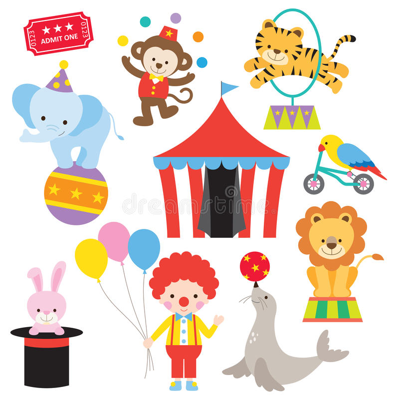 Circus Animal Set. Vector illustration of cute and colorful circus animals stock illustration