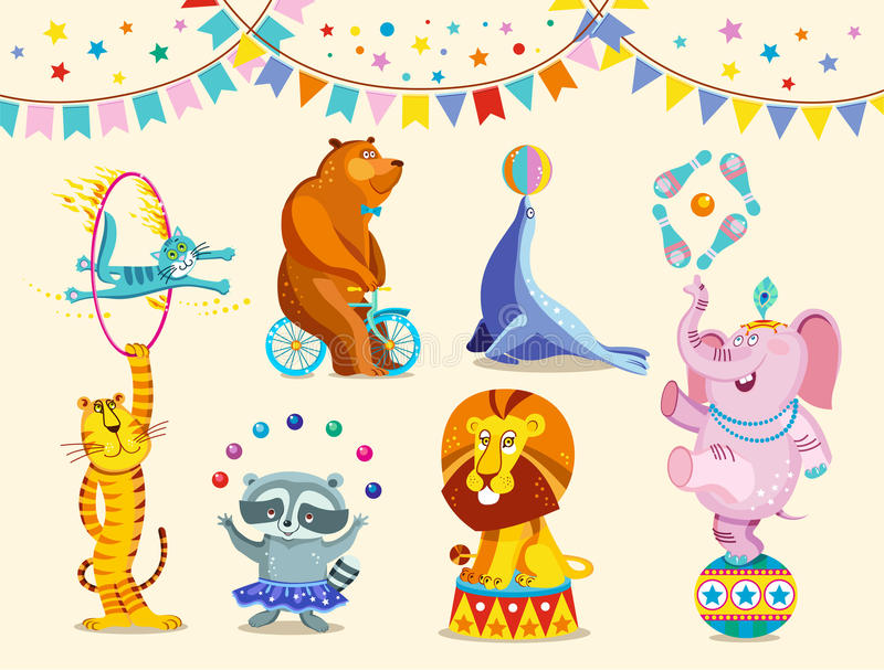 Circus animals decorative icons set. Funny circus elephant, tiger, cat, bear, raccoon, lion perform tricks. Vector stock illustration