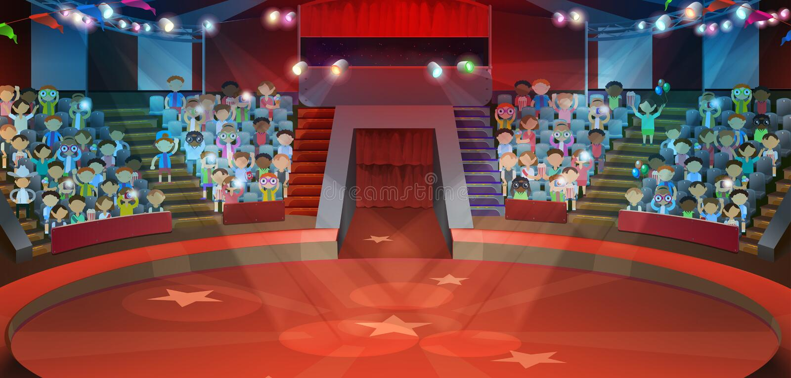 Circus arena background. Circus arena, vector illustration background