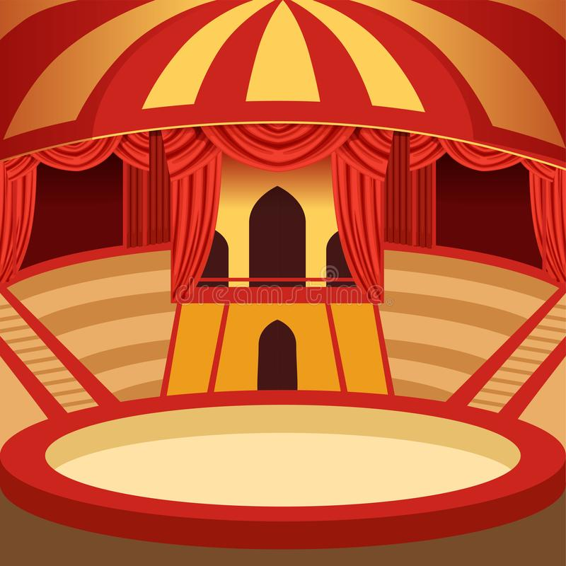 Circus arena cartoon design. Classic stage with yellow royalty free illustration