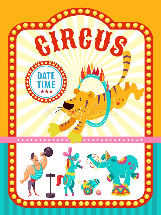 Poster of a circus show. Vector illustration. Circus artists and trained animals. royalty free illustration