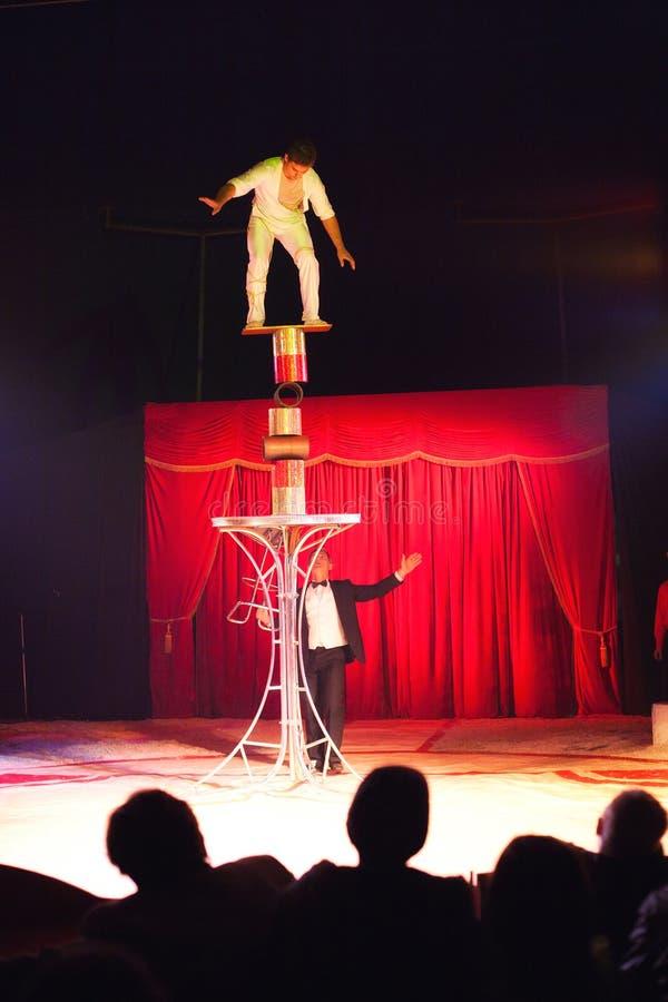 Circus artist balance act