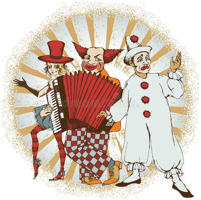 Circus artists. Composition of companie of circus artists royalty free illustration