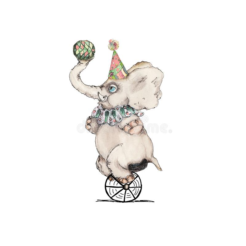 Circus baby elephant  character  vintage watercolor drawing clipart illustration isolated on white. Circus character  vintage watercolor drawing clipart royalty free illustration