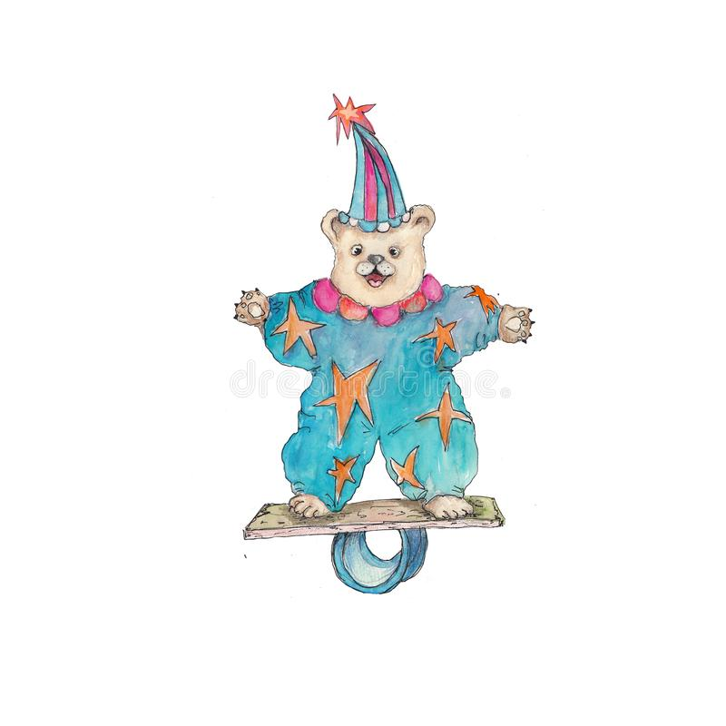 Circus bear  vintage watercolor drawing clipart illustration isolated on white. Circus character  vintage watercolor drawing clipart illustration isolated on royalty free illustration