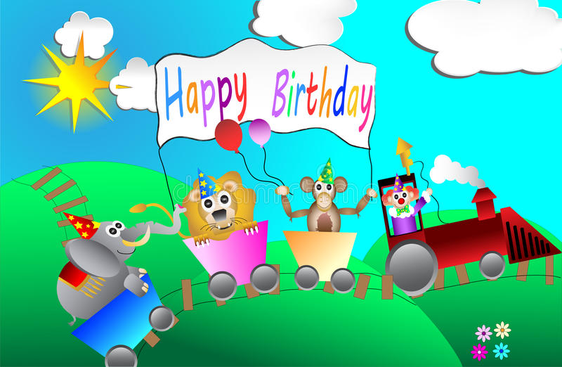 Circus birthday party card design for kids vector vector illustration