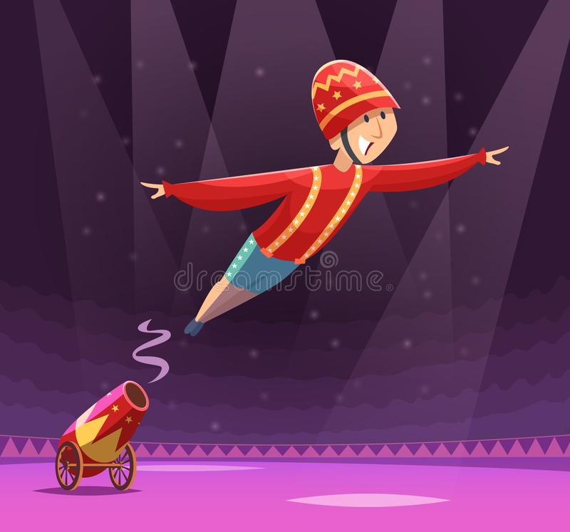 Circus cannon show. Shooting gun on cirque arena performer clowns on stage vector cartoon background vector illustration