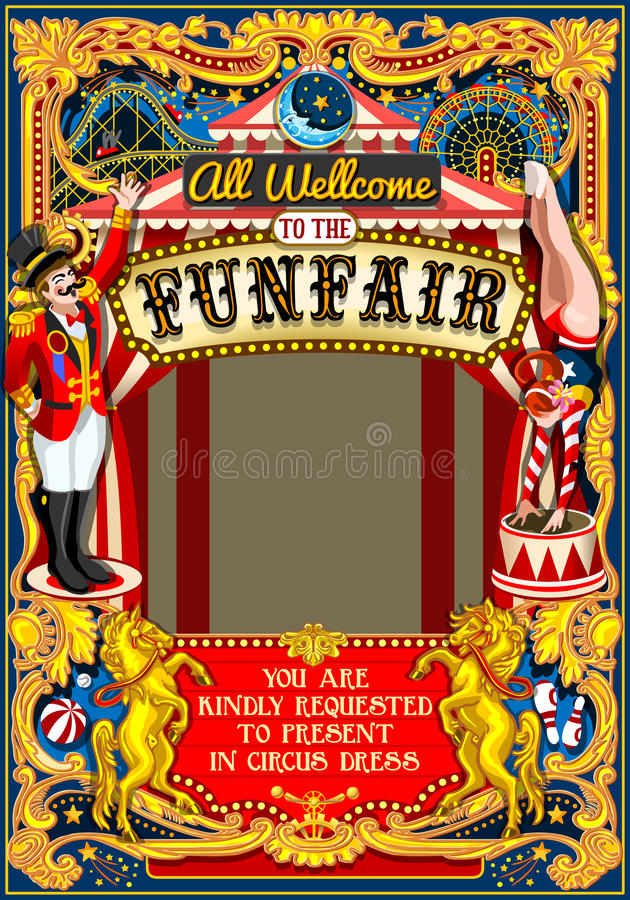 Circus Carnival Frame vintage 2d vector. Circus juggler show Retro Template. Cartoon Poster Invite. Kids game Birthday Party Insight. Carnival festival stock illustration