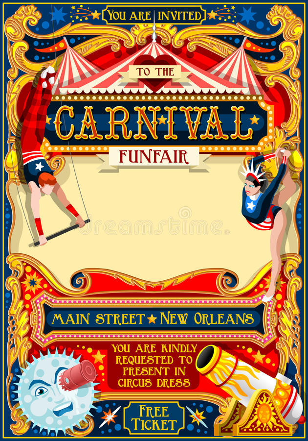 Circus Carnival Illustration vintage 2d vector. Circus juggler show Retro Template. Cartoon Poster Invite. Kids game Birthday Party Insight. Carnival festival stock illustration