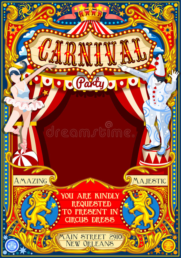Circus Carnival Theme vintage 2d vector. Circus juggler show Retro Template. Cartoon Poster Invite. Kids game Birthday Party Insight. Carnival festival vector illustration