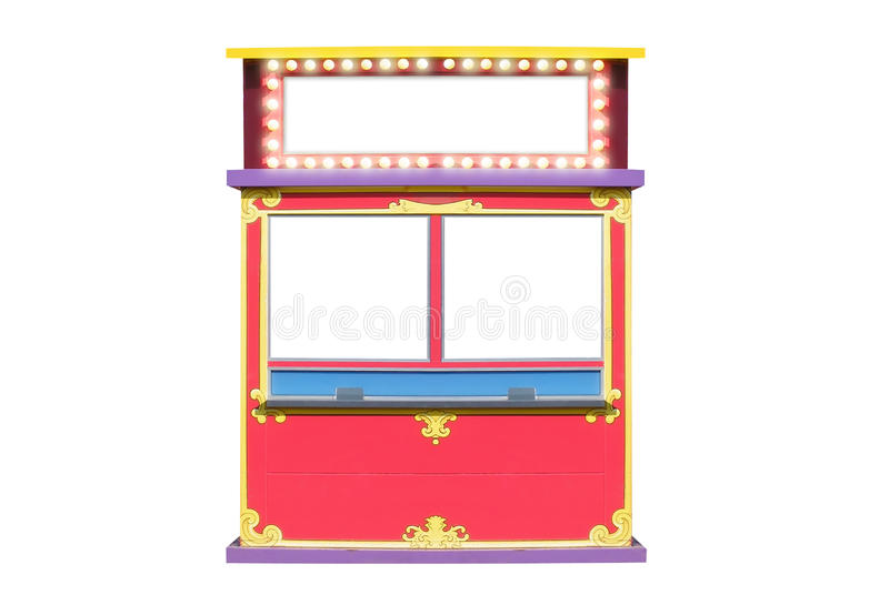 Circus Carnival Ticket Booth Stand. A blank isolated ticket booth stand has light bulbs glowing around it. There are blank areas. Use it for a circus, carnival stock illustration