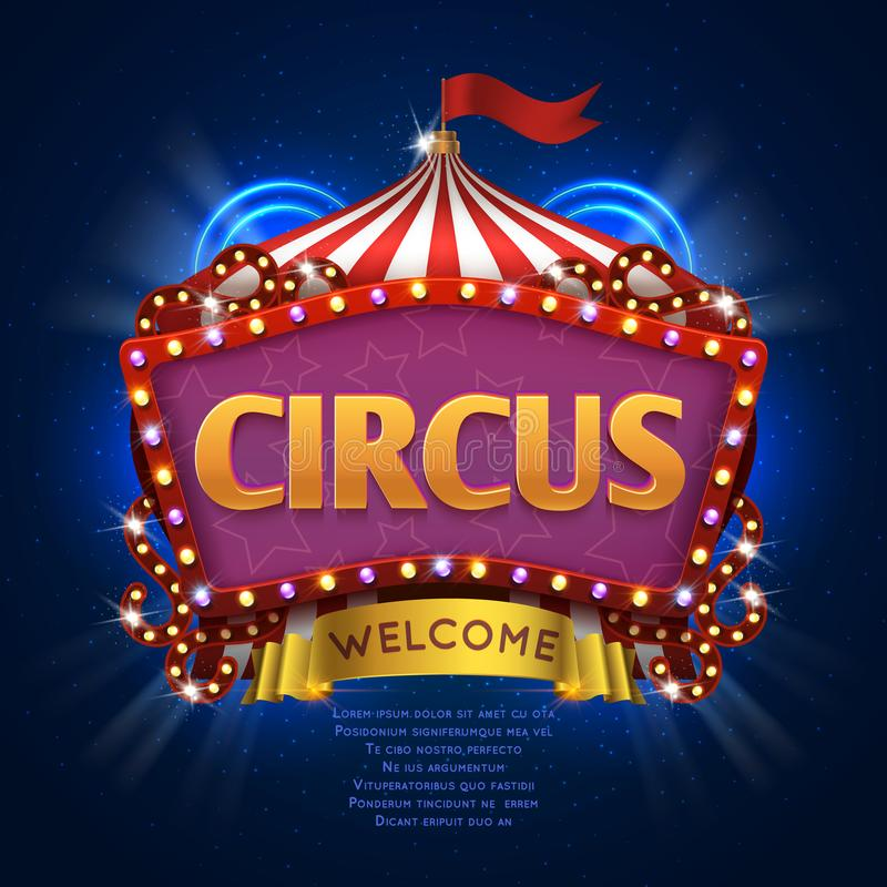 Circus carnival vector sign with light bulb frame royalty free illustration