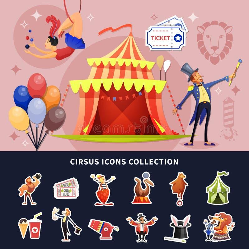 Circus Cartoon Colored Composition vector illustration