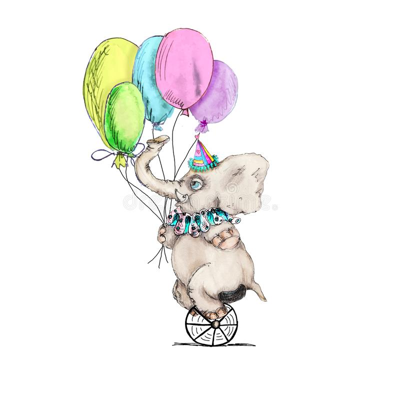 Circus character vintage elephant watercolor drawing clipart illustration isolated on white. Circus character elephant watercolor drawing clipart illustration vector illustration