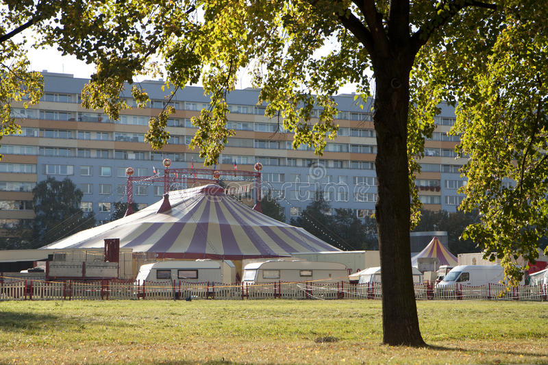 Circus in city. Circus show visiting a large city royalty free stock images