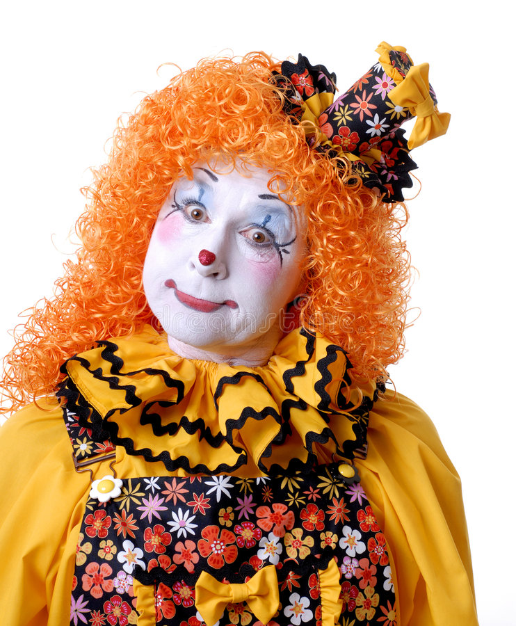 Circus Clown. Close up funny face female clown royalty free stock photography