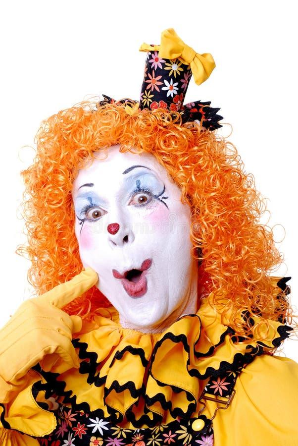 Circus Clown. Close up funny face female clown stock photos