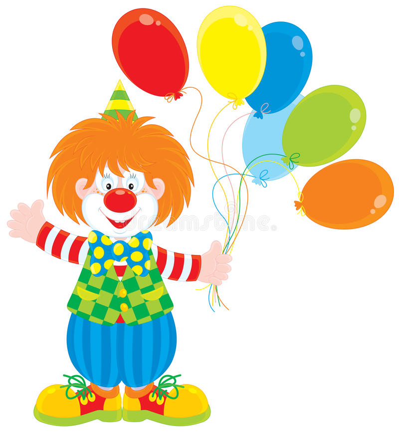 Download Circus clown with balloons stock vector. Illustration of jester - 24456801