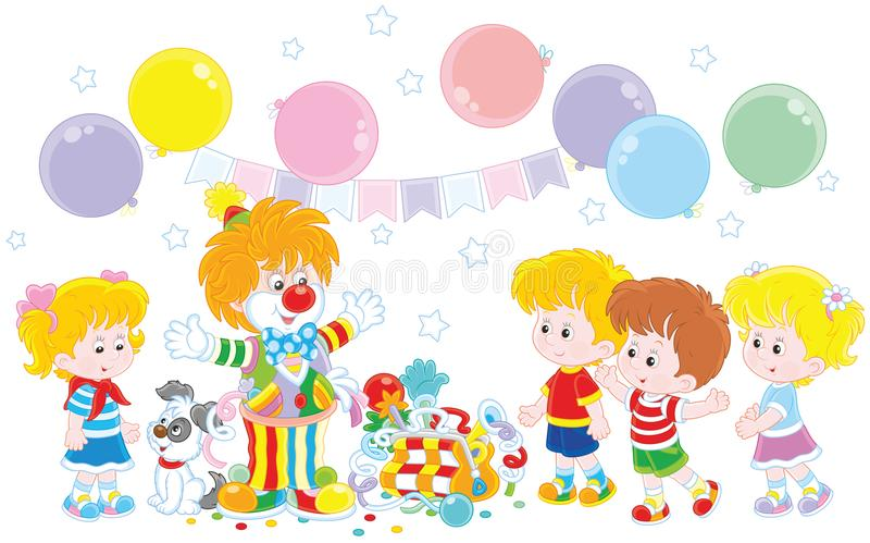 Circus clown and children. Friendly smiling comic in a colorful suit with his pup, toys and balloons playing with small girls and boys, a vector illustration in vector illustration