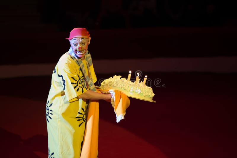 Circus Clown Competition Arena with Cake with Candles royalty-vrije stock foto's