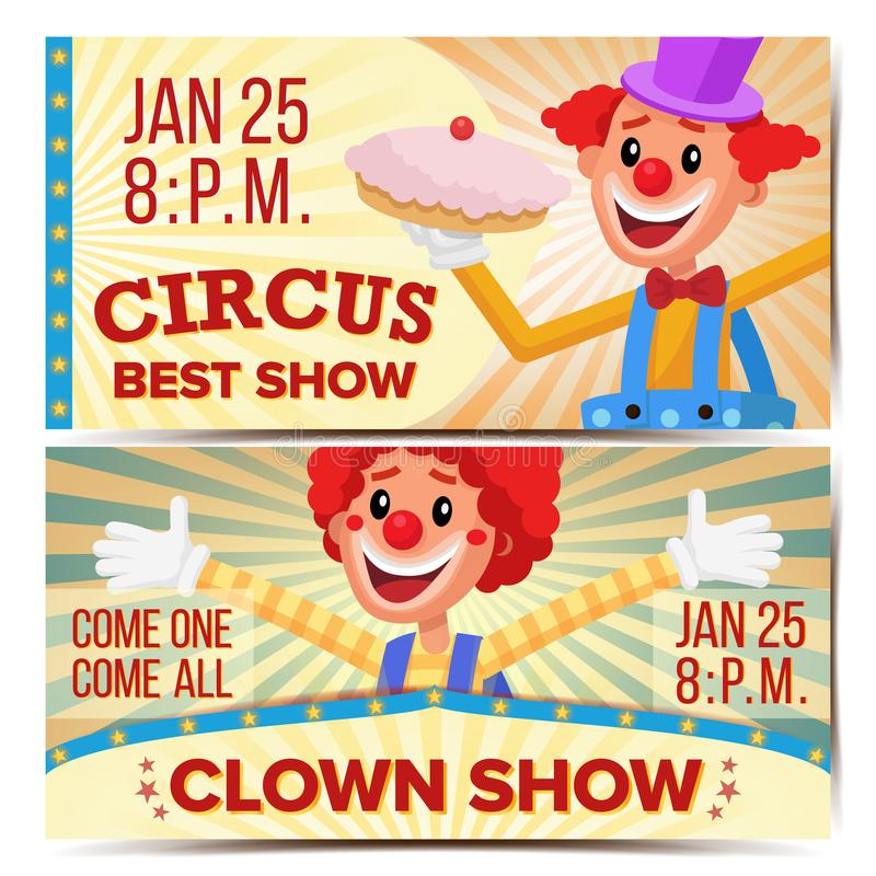 Circus Clown Horizontal Banners Template Vector. Great Circus Show Concept. Amusement Park Party. Carnival Festival royalty free illustration