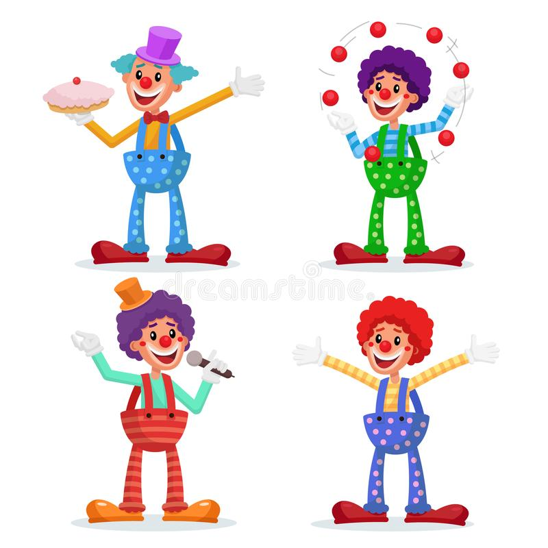 Circus Clowns Set Vector. Performance For Hilarious Laughing People. Amazing Public Circus Show. Man Juggling Balls. Isolated On White Cartoon Character royalty free illustration
