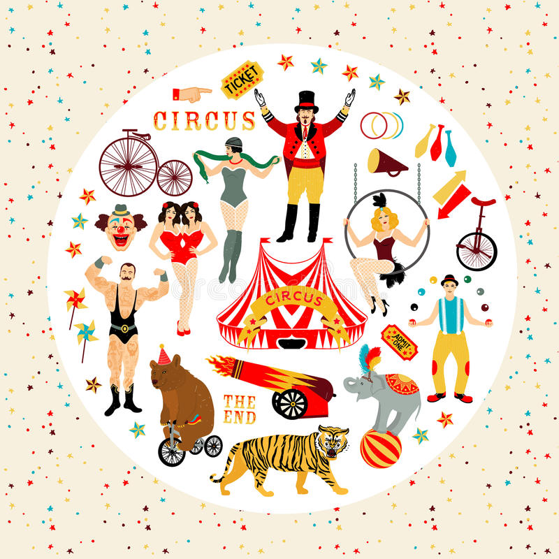 Circus collection. Circus. Vintage icons collection. The strong man, The siamese twins, The Circus Entertainer, The Circus Air Acrobat, The Snake Lady, The stock illustration