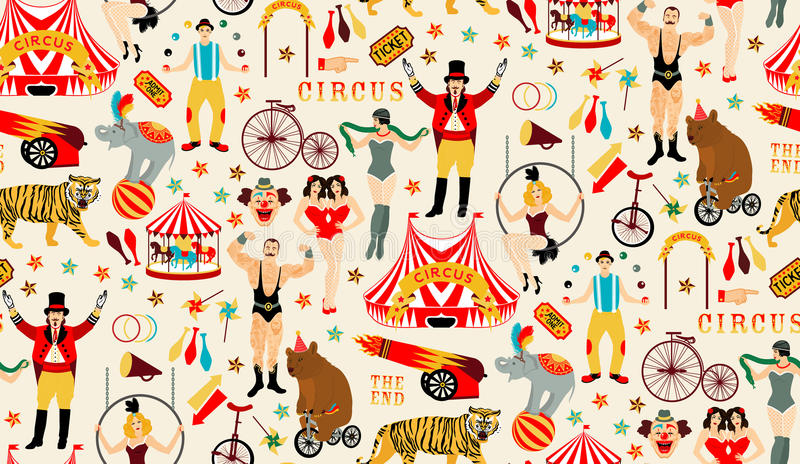 Circus collection. Circus. Vintage Seamless Pattern. The strong man, The siamese twins, The Circus Entertainer, The Circus Air Acrobat, The Snake Lady, The vector illustration