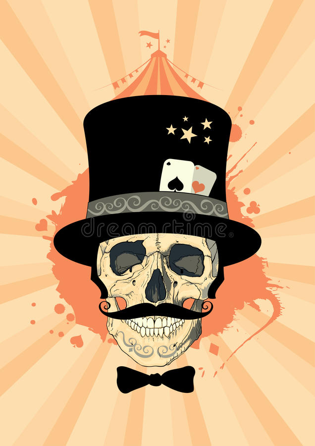 Circus design with magician skull. royalty free illustration