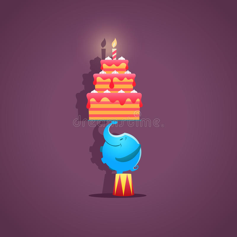 Circus Elephant With A Birthday Cake Vector Stock Vector