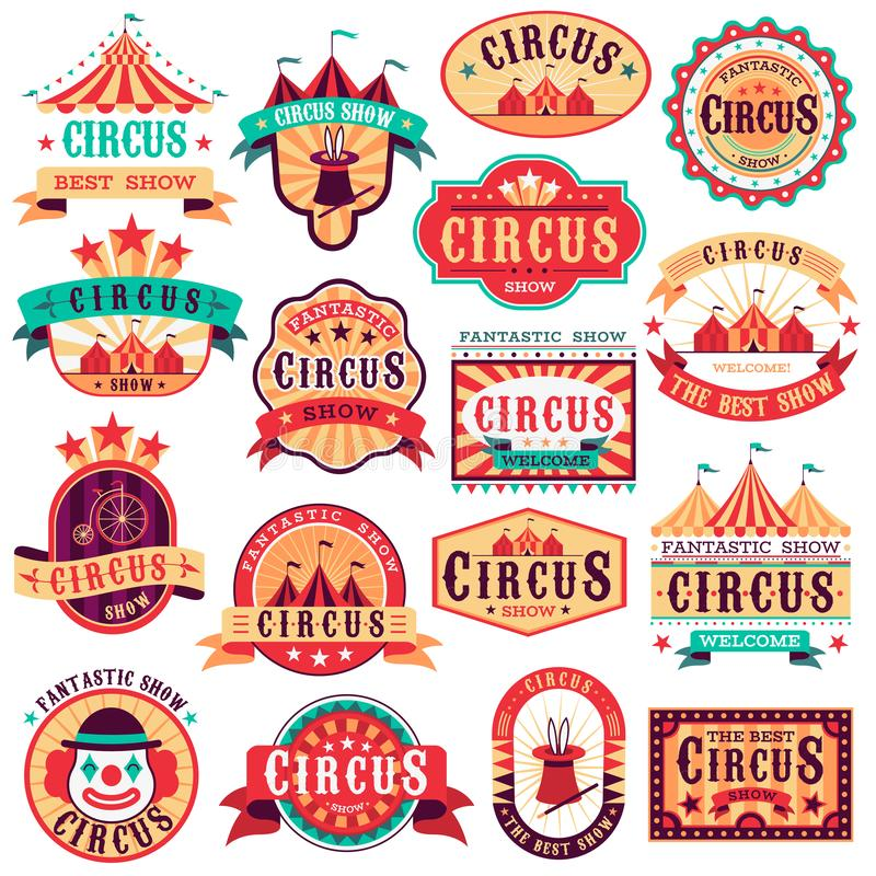 Circus emblems. Carnival festival, fun circus show retro paper signboard invitational banners event frames arrow. Stickers. Vector logo magic attractions set royalty free illustration