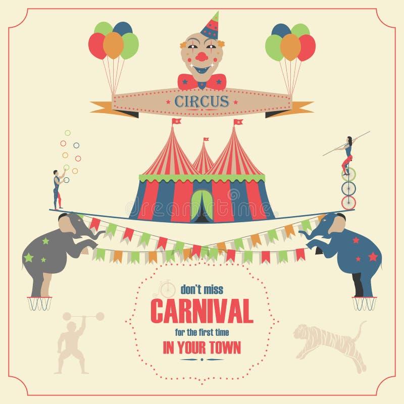 Circus en Carnaval-het Malplaatje van de Uitnodigingskaart stock illustratie