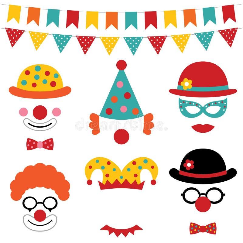 Circus en clown de steunen van de fotocabine vector illustratie