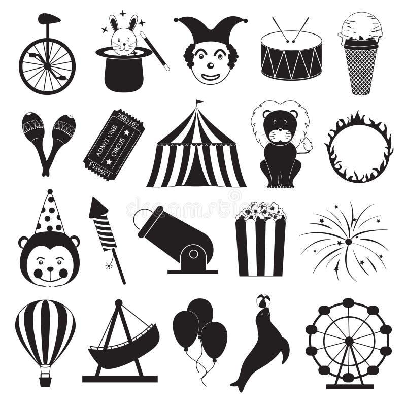 Circus en Pretpark Geplaatste Pictogrammen royalty-vrije illustratie