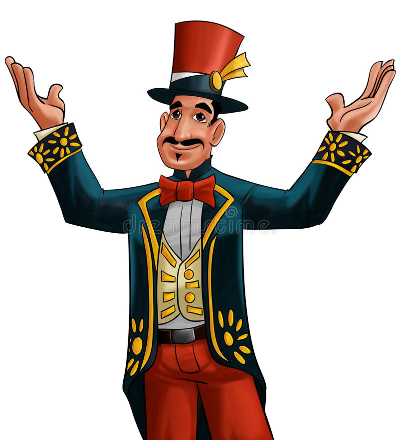 Circus entertainer. With his very exotic clothes stock illustration