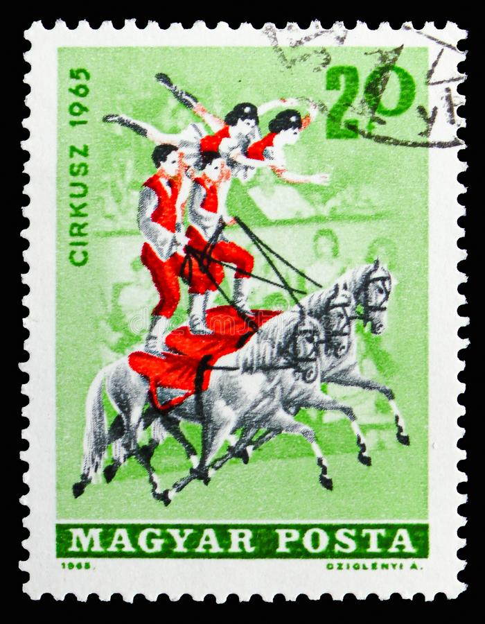 Circus - Equestrians, Circus serie, circa 1965. MOSCOW, RUSSIA - SEPTEMBER 15, 2018: A stamp printed in Hungary shows Circus - Equestrians, Circus serie, circa royalty free stock images