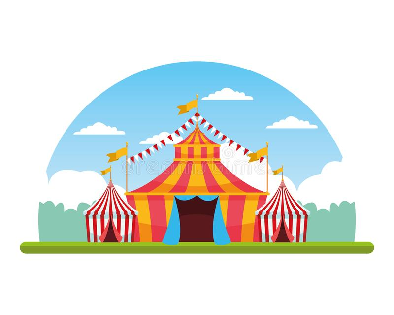 Circus fair festival scenery cartoon. Circus fair festival tents and pennants scenery cartoon vector illustration graphic design vector illustration