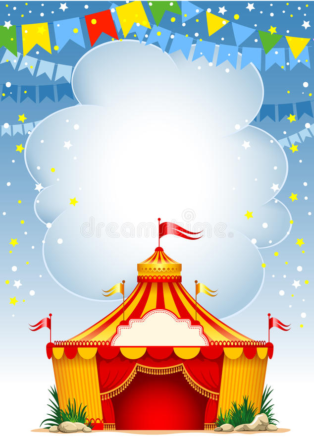 Circus. Festive background with striped tent of vagrant circus and flags. Vector illustration royalty free illustration