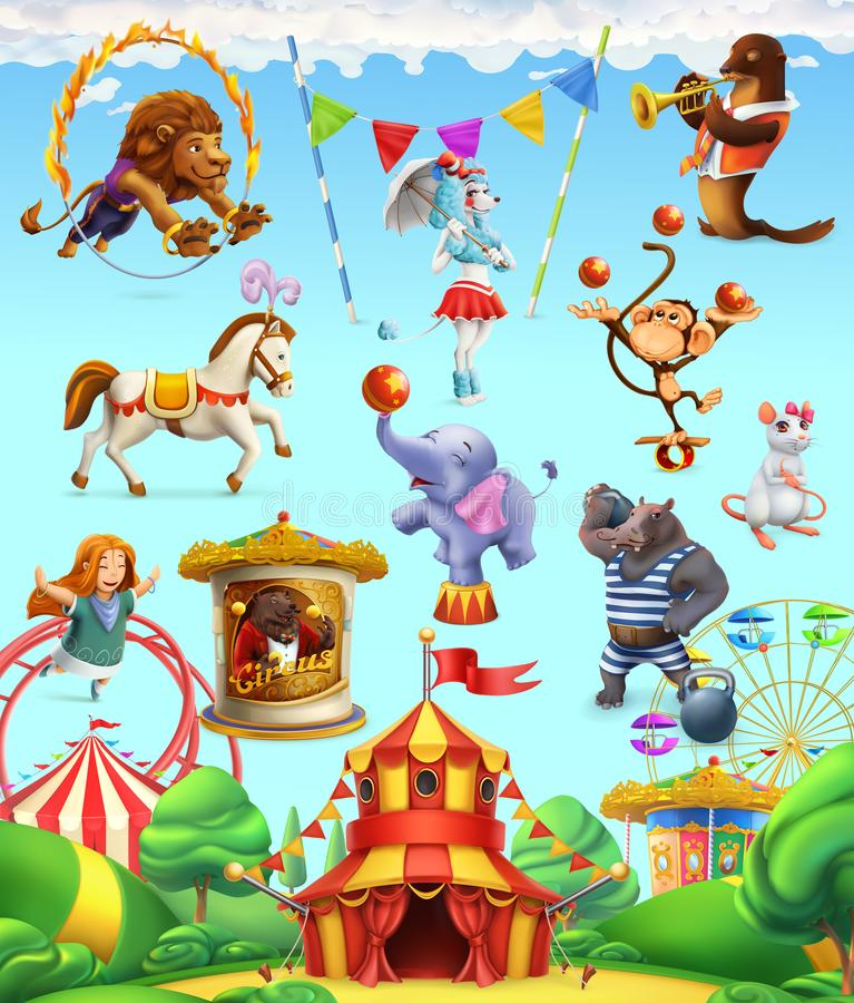 Circus funny animals, set of vector icons stock illustration