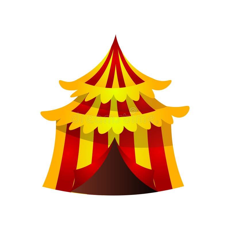 Circus gestreepte tent met rode gele kleur en gouden golven royalty-vrije illustratie