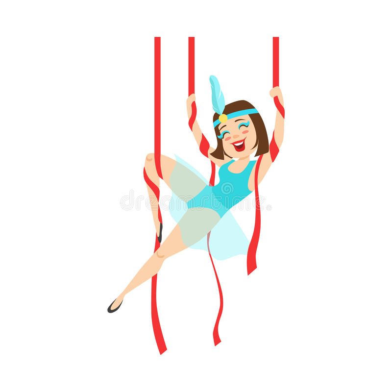 Circus Girl Acrobat In Blue Outfit Performing Acrobatic Stunt On Hanging Ribbons For The Circus Show royalty free illustration