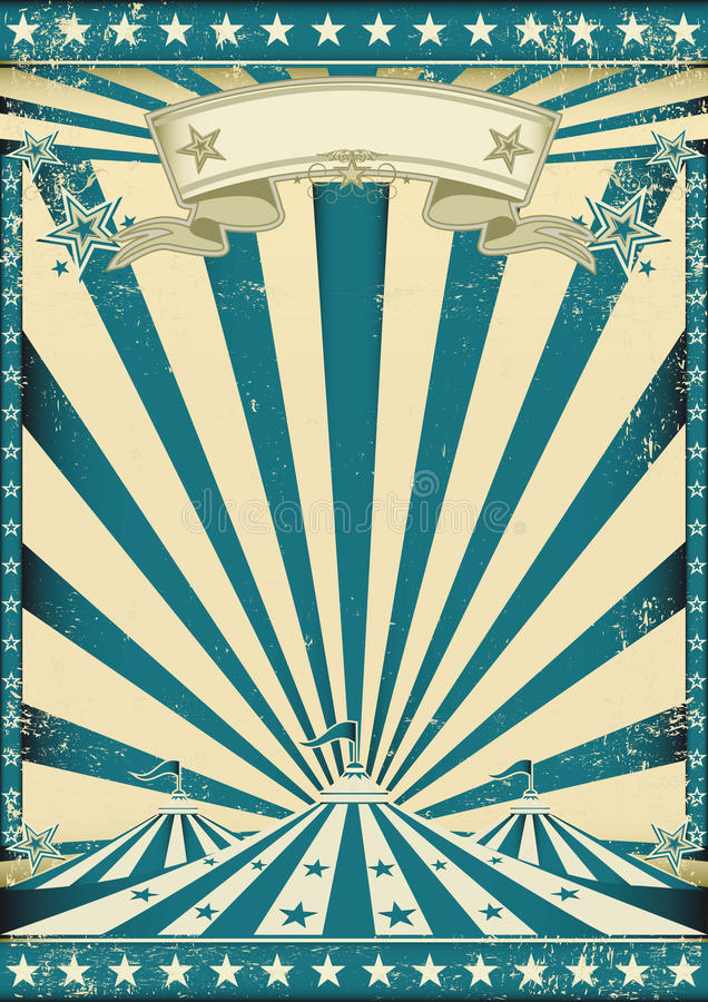 Circus grunge blue poster royalty free stock photography
