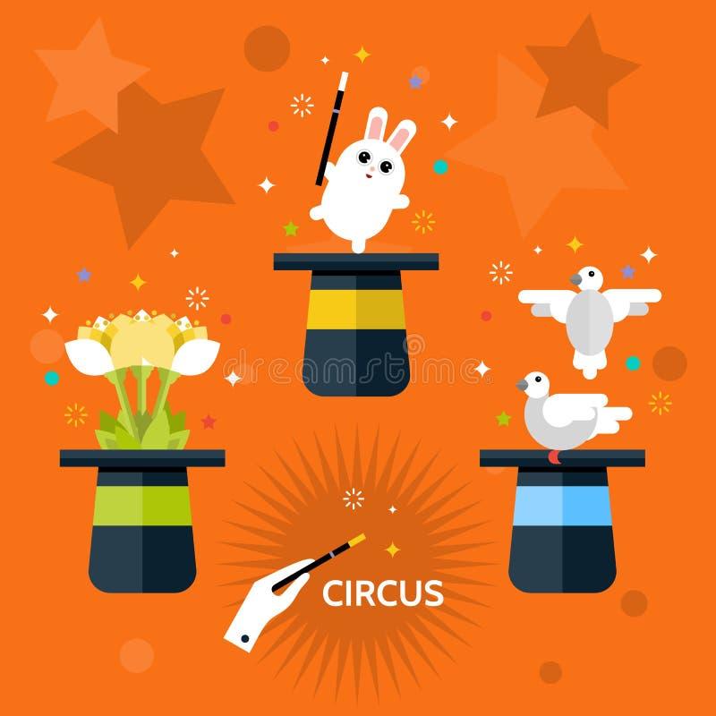 circus Grupo de mágico do chapéu ilustração royalty free