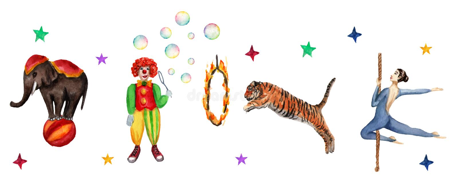 Circus horizontal pattern, elephant, clown, tiger and acrobat. Watercolor illustration on white stock illustration