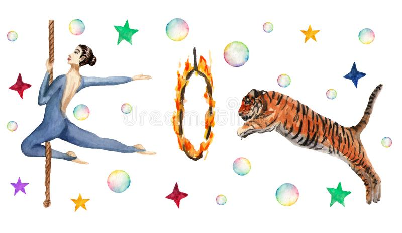 Circus horizontal pattern, soap bubbles, stars, tiger, fire ring, acrobat. Watercolor illustration on white vector illustration