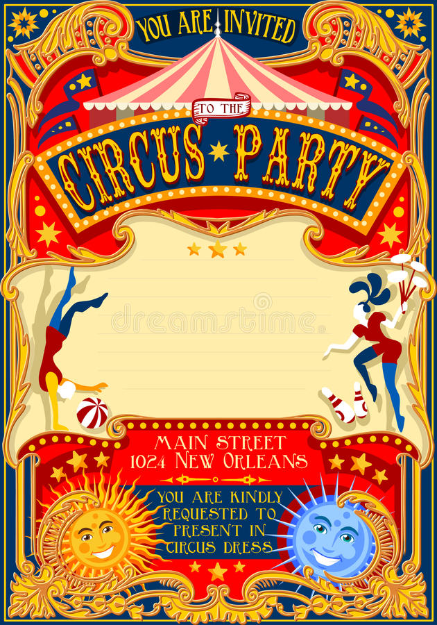 Circus 01 Invitation Vintage 2D. Tale of Tales You are Invited to The Court of Miracles. Circus Carnival Colorful Retro Vintage Template for your Happy Crazy royalty free illustration