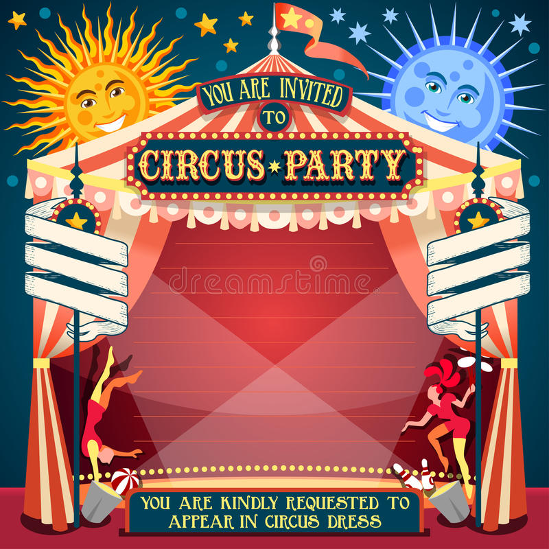 Circus 02 Invitation Vintage 2D. Tale of Tales You are Invited to The Court of Miracles. Circus Carnival Colorful Retro Vintage Template for your Happy Crazy vector illustration