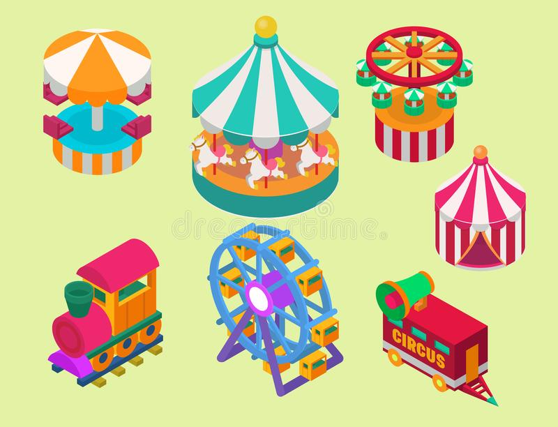 Circus isometric show entertainment tent marquee outdoor festival with stripes and flags carnival signs royalty free illustration