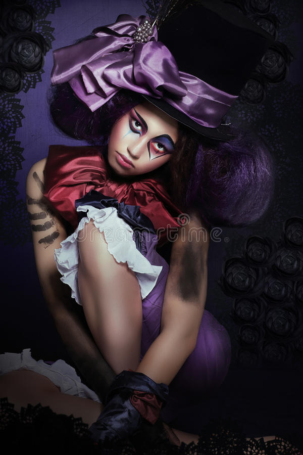 Free Circus. Jester With Fanciful Makeover In Foolish Hat Stock Images - 40668774