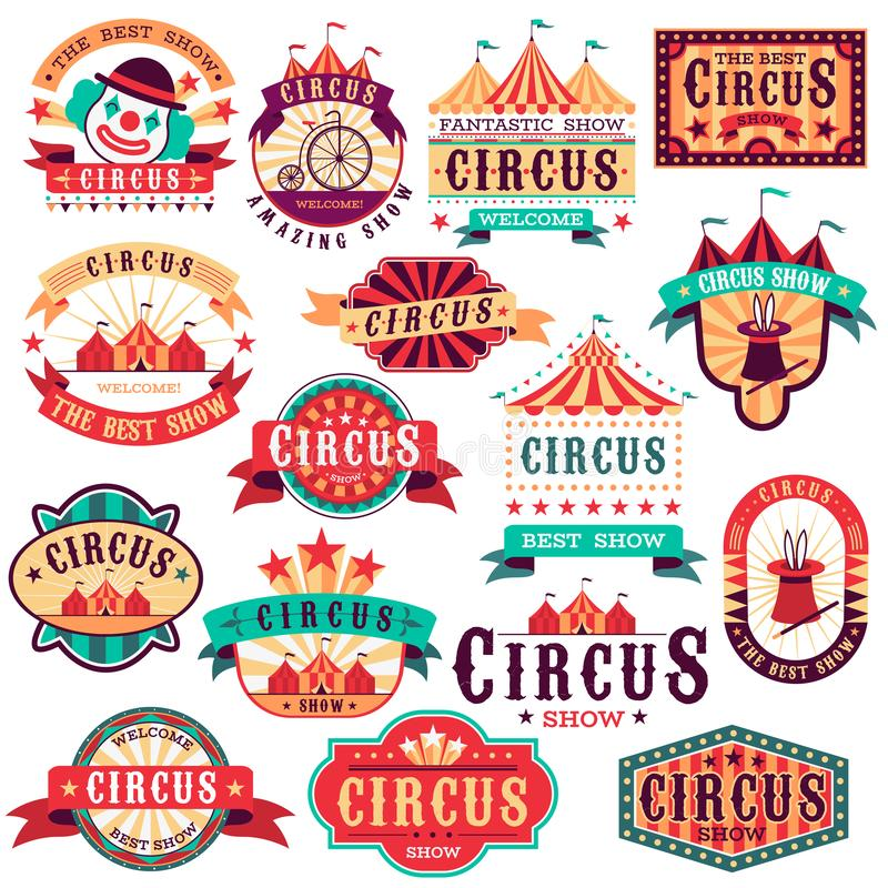 Circus labels. Vintage carnival show, circus signboard. Entertaining event festival. Paper invitation banner, arrow. Vector entrance fun isolated stickers set royalty free illustration